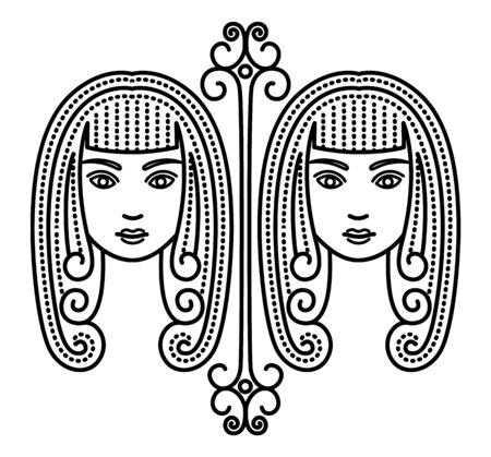 Troisième signe astrologique, les gémeaux associés à la constellation. Zodiaque représenté par des jumeaux. Dessin de contour de deux belles femmes sur fond blanc. Illustration vectorielle de l'astérisme dans un style plat
