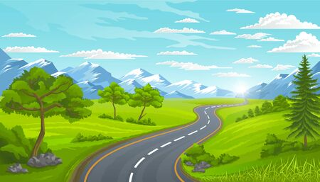Curvy road with mountains. Rural landscape with trees and green lawns.Traveling and adventures on street in suburbs view, countryside natural scenery. Modern road look of highway leading straight