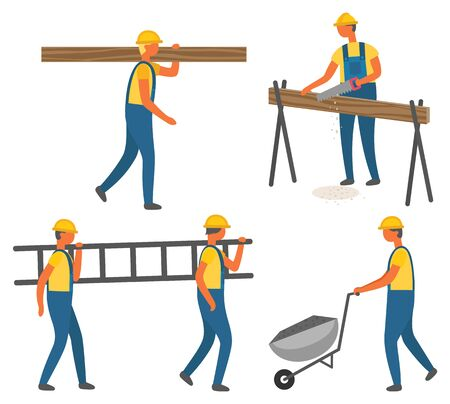 Workers with tool or materials, construction works vector. Wood logs and ladder, coal in cart and handsaw, isolated characters in overalls and hardhat