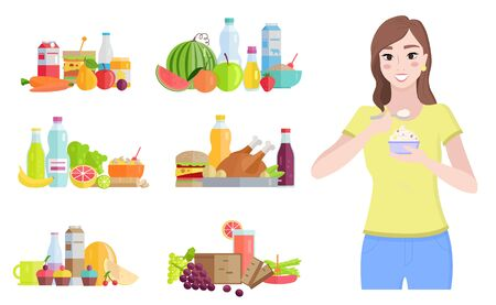 Female character eating yogurt rich in probiotics and good bacteria. Isolated woman and set of meals. Watermelon and bottle of water, fruits and vegetable with chicken meat. Vector in flat style