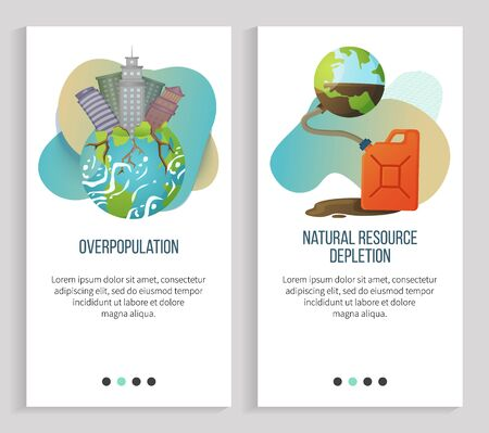 Natural resource depletion vector, overpopulation of cities and big towns, planet earth with gas canister, unwise usage of natural richness. Website or slider app, landing page flat style