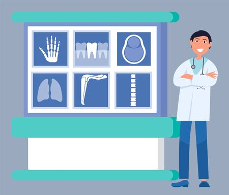 Smiling doctor in uniform standing near x-ray board with image of hand, tooth and chest, spine and lungs. Medical research and diagnostic, ct or mri vector Illustration