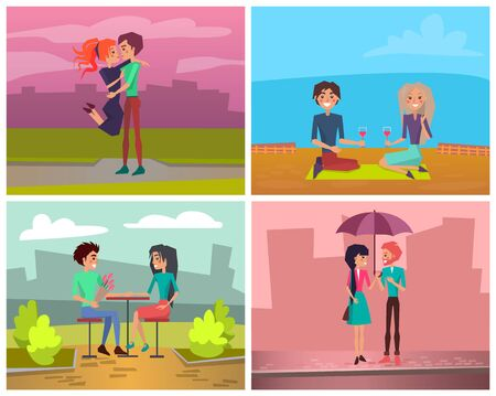 Man hugging woman, lovers picnic with wine, raining romantic walking, giving flowers to girlfriend. Male and female leisure together, Valentine day vector