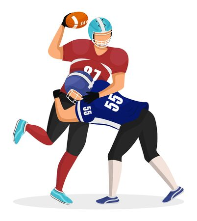 Footballers from different teams play on stadium in american football. Player attacks, kicks his opponent. Rivalry of competition. Men in uniforms and helmets. Vector illustration of game moment