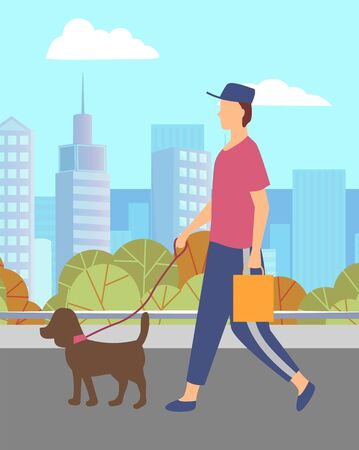 Man stroll through city park with his pet and shopping bag. Guy walking with small dog on leash. Person and puppy on cityscape background. Summer warm weather. Vector illustration in flat style