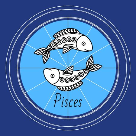 Pisces negative mutable zodiac sign with sketch of two fish in circle. Astrological element for people born in february and march. Isolated decorative icon for horoscopes and predictions vector Vector Illustration