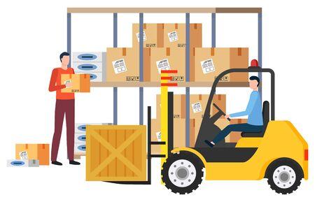 Versand und Lieferung von Artikeln in Kartons. Isolierte männliche Leute in Logistikunternehmen, die sich mit Frachtsendungen befassen. Mann mit Kartonbehälter in den Händen. Paket auf Lademaschinenvektor im flachen Stil Vektorgrafik