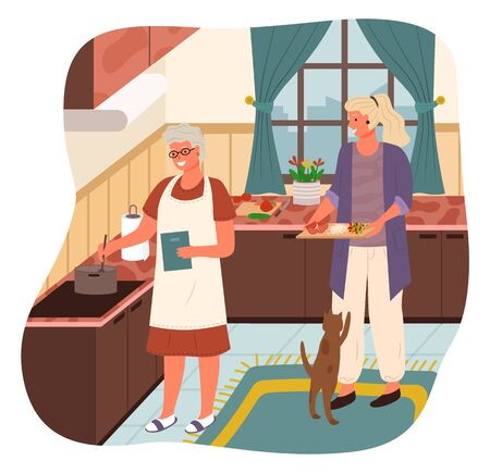 Grandmother stand by stove and boil soup. Woman help mother with cooking and bring ingredients for meal. Cozy kitchen interior with kitchenware and tabletops. Vector illustration of cook process