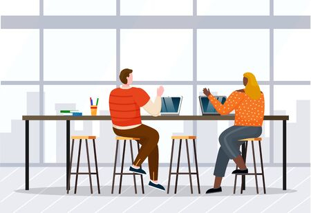 Woman and man greet each other, coworkers in open space. Lady and guy working on laptops. Room interior with high table and chairs and window with cityscape view. Vector illustration of office in flat Illustration