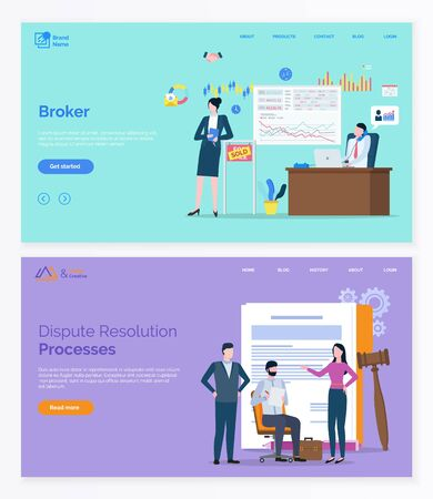 Broker collaboration, dispute resolution processes app slider. Workers characters solving rights problem and making deals online, web marketing vector. App slider template, landing page flat style