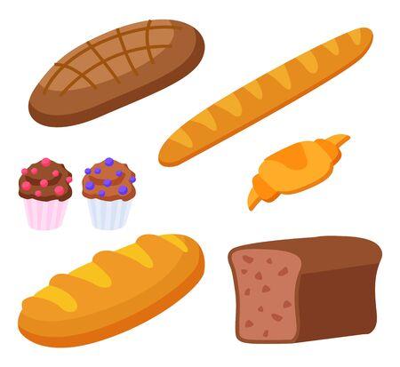 Ensemble de produits à base de farine. Baguette et croissant isolés, cuisine française. Pain de seigle et cupcakes avec garniture décorative. Assortiment de repas diététiques de boulangerie. Illustration vectorielle de style plat Vecteurs