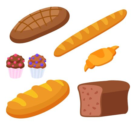 Set of products made of flour. Isolated baguette and croissant, french cuisine food. Rye bread and cupcakes with decorative topping. Dietary meal assortment of bakery. Flat style vector illustration Ilustração Vetorial