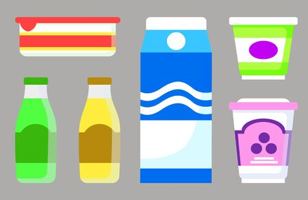 Set of isolated dairy products in containers with emblems. Milk and yogurt, sour cream in plastic package, Organic nutrition and dieting. Food assortment in store or shop. Vector in flat style