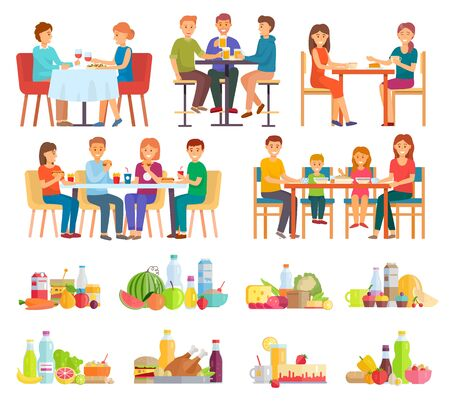 Collection of people eating meals and dishes. Couple drinking wine on date, family having lunch. Friends on breakfast enjoying burgers and French fries. Set of plates, fruits and vegetables.