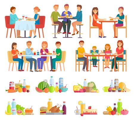 Sammlung von Menschen, die Mahlzeiten und Gerichte essen. Paar trinkt Wein am Tag, Familie beim Mittagessen. Freunde beim Frühstück genießen Burger und Pommes Frites. Satz Teller, Obst und Gemüse.