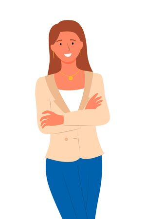 Pretty woman in jacket and blue skirt isolated. Vector cartoon business lady, smiling female person in flat style, fashionable manager or bank worker portrait 일러스트
