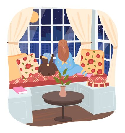 Little girl sitting on couch in living room or bedroom at home. Child waiting parents or looking on city throw window. Interior with sofa, pillows and houseplant for decor. Vector illustration in flat