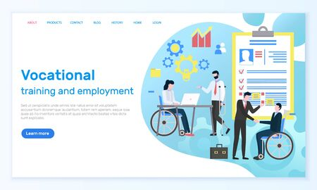 Website of vocational training and employment. Career and medical insurance for disabled people. Man and woman on wheelchairs. Document, profile with information. Vector illustration in flat style