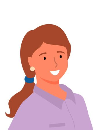 Profile of smiling woman in purple blouse, isolated cartoon lady. Vector office worker ir online consultant, picture of female with positive smile 일러스트