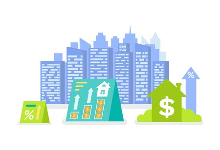 Modern city vector, dollar currency sign and arrow growing up, real estate industry profit and money making. Futuristic look of skyscrapers residential 向量圖像