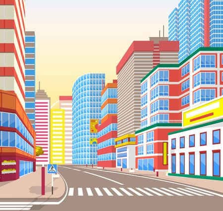 Empty street vector, corner view on cityscape. Metropolitan wide roads with signs and pedestrian crossings for people, exterior of houses and buildings on sity street Vektorgrafik