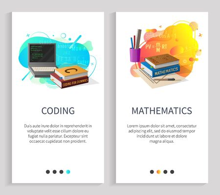 Mathematics and coding disciplines vector, school supplies with computer, books and pencils. Internet technology formulas and algorithms. Website or slider app, landing page flat style Illustration