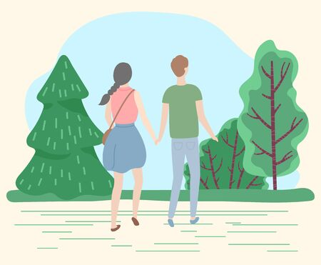 Happy couple on romantic date in park or forest. Man and woman hold each other hands. Summer warm weather, beautiful landscape. Trees with green krone in lawn. Vector illustration in flat style