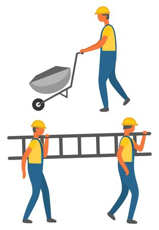 People working in team vector, workers with ladder and cart for materials transportation. Man wearing helmet and uniform. Builders at work flat style 일러스트