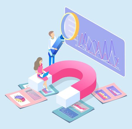 Data analysis concept. Man and woman working on statistics explanation. Person making research using magnifying glass tool. Female character working on laptop sitting on magnet, vector in flat style Иллюстрация
