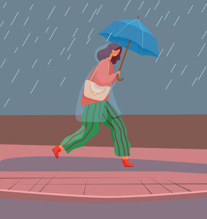 Woman with umbrella under autumn rain walking on puddles vector. Rainfall and fall weather, girl in raincoat with parasol, seasonal forecast changes. Person and outdoor activity illustration Illusztráció