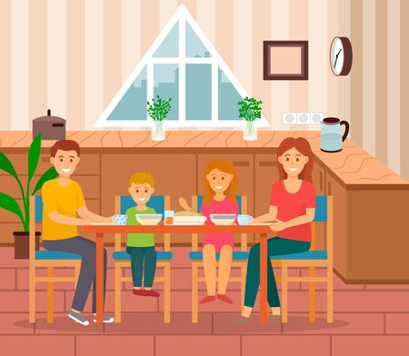 Family of mother and father with children eating at kitchen or dining room. Family gathered on holidays having dinner or breakfast together. Mom and dad with kids in house, apartment interior vector Illusztráció