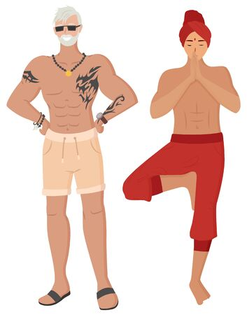 Indian man posing, yoga technology, smiling fit male with tattoos on body. People ethnicity, meditate and posing person, human character standing vector