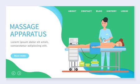 Apparatus massage therapy spa website template. Professional therapist making skincare procedure on woman back. Female lying on table with towel in salon. Website or landing page flat style vector Standard-Bild - 141043994