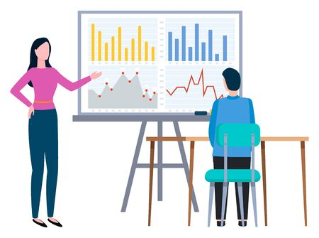 Woman stand near information board and talking to guy. Man sitting by table and listening report. Office workers on appointment or meeting. People conversation. Vector illustration flat style