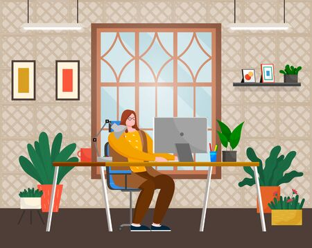 Worker using computer on workplace in office or at home. Female typing in pc wireless device sitting at table with cup, pan and lamp symbol near window. Employee looking at laptop indoor vector Illusztráció