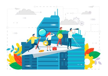 People working together vector, cityscape with team on paper plane. Leader and workers with tools, cogwheel and magnifying glass, briefcase and bulb