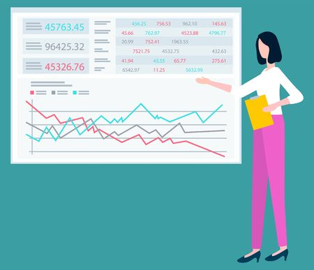 Woman worker showing statistic board, presenter character, finance report and graph. Employee representing company capital, business success vector Illusztráció