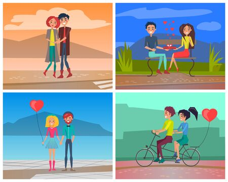 Romantic couple in love dating vector set. Lovers characters in relationships hugging, giving heart shaped present box, cycling on double bike together Illusztráció