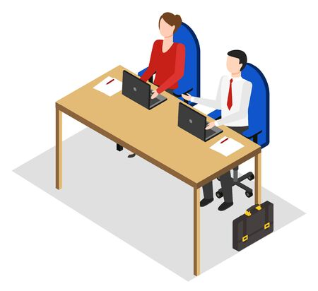 Managers or employees working in office sharing table. People at work dealing with data analysis or info input. Isolated male and female characters with laptops. Vector in isometric 3D style