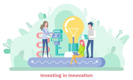 Investing in innovation, man and woman creative idea, modern technology. Light bulb and modern equipment, business development, company tech vector
