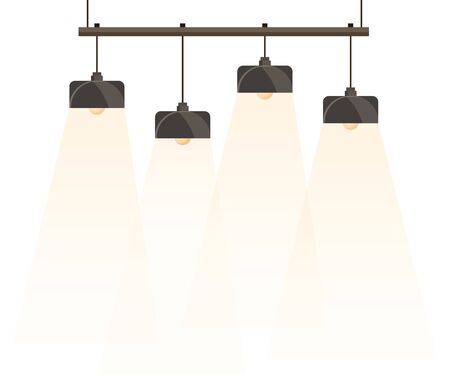 Chandelier, light fixture mounted on ceiling. Basic furniture for home and office. Four lamps isolated on white background. Object needed to illuminate room when it dark. Vector illustration in flat