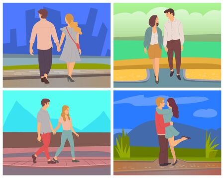 Dating people in evening vector set, man and woman romantic couple on date. Male and female, boyfriend and girlfriend celebrating anniversary of relationship. Valentine day. illustration in flat style Reklamní fotografie - 140989715