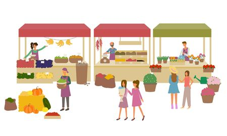 Marketplace with vegetables and fruit, spice and flowers. Products retail, apple and tomato, kitchen herbs and bouquet, shopping or marketing vector