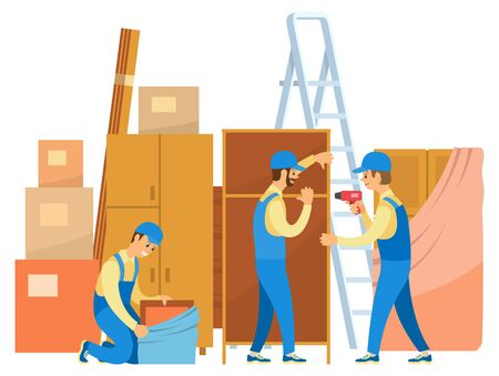 Men in uniform unpacking things. People move to new house or flat. Loaders help in moving. Stepladder and wardrobes, carton boxes vector illustration