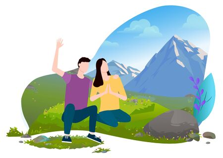 Happy couple sitting on grassy hill with mountains on background. Man waving hand . Woman enjoying beauty of nature and meditating view vector illustration