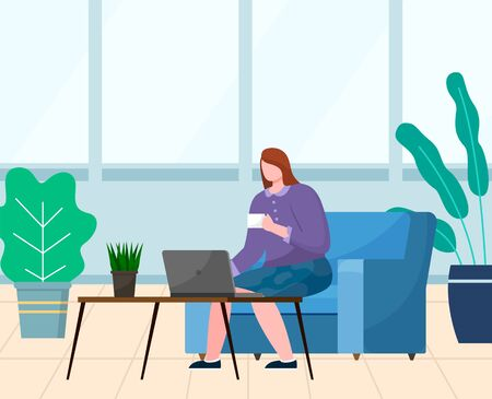 Young woman sit on sofa and work on computer alone, cozy workplace. Lady drink coffee or tea on break. Room interior with plants and big window. Vector illustration of relax place in flat style 일러스트