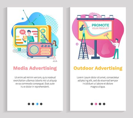 Media advertising vector, outdoor advertisement woman on ladder with billboard, radio and tv set with program on live, host on television. Website or slider app, landing page flat style