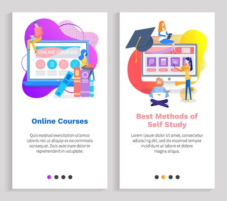 Online courses vector, education and tool for effective knowledge gaining, monitor with digital access for students, people with tasks from school. Website or slider app, landing page flat style