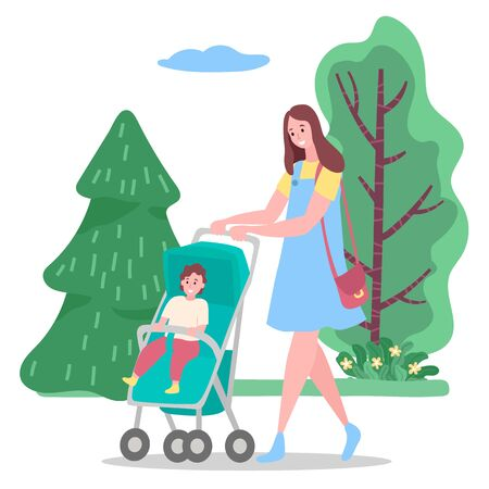 Happy woman in casual clothes walking with child in carriage. Smiling mother holding buggy with toddler and going near green trees in park. Family leisure in summer of parent and baby outdoor vector