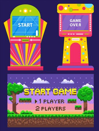 Vintage arcades, colorful retro game machines. Cartoon pixel art nature scene with trees and clouds. Game over or start on screen, vector illustration